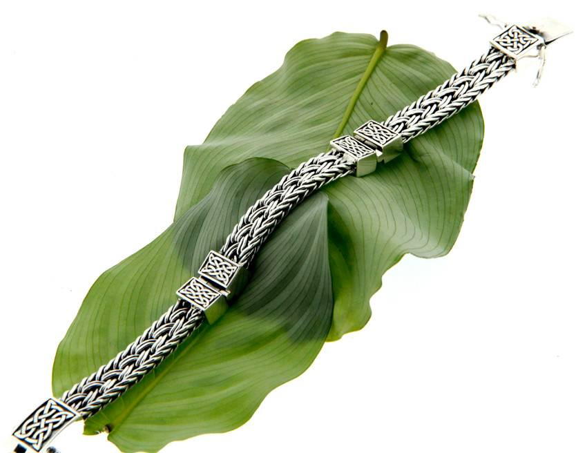 Bracelet: Sterling Celtic Weave Eternity, 3-Hinge