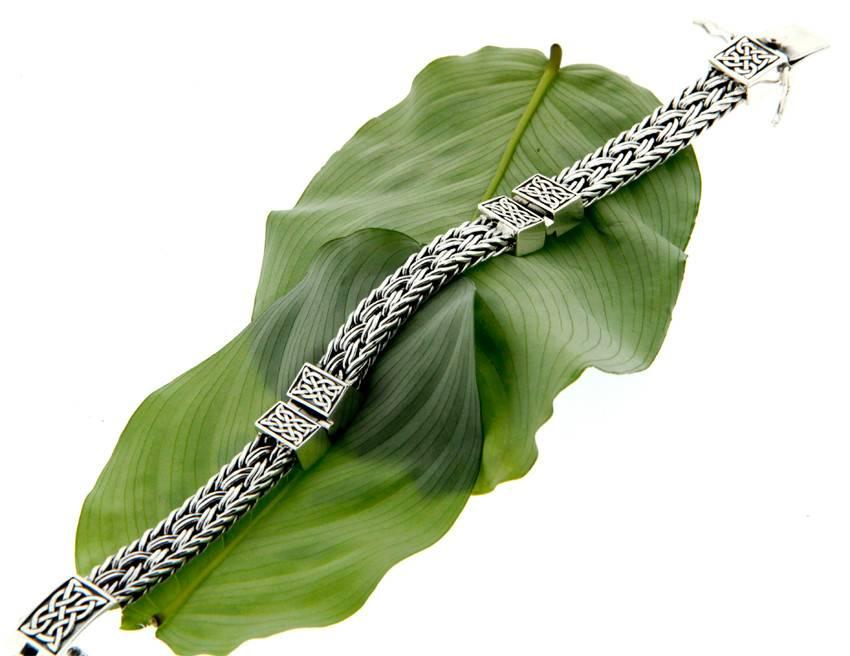 Bracelet: Sterling Celtic Weave Eternity, 3-Hinge
