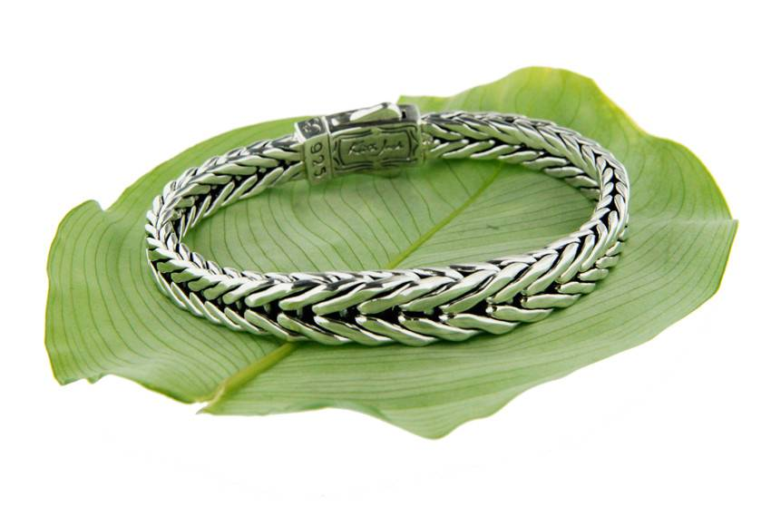 Keith Jack Bracelet: Sterling Dragon Weave, Graduated Eternity
