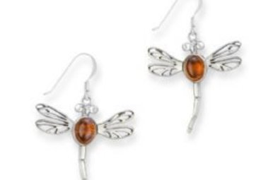 Earrings: SS Amber Dragonfly