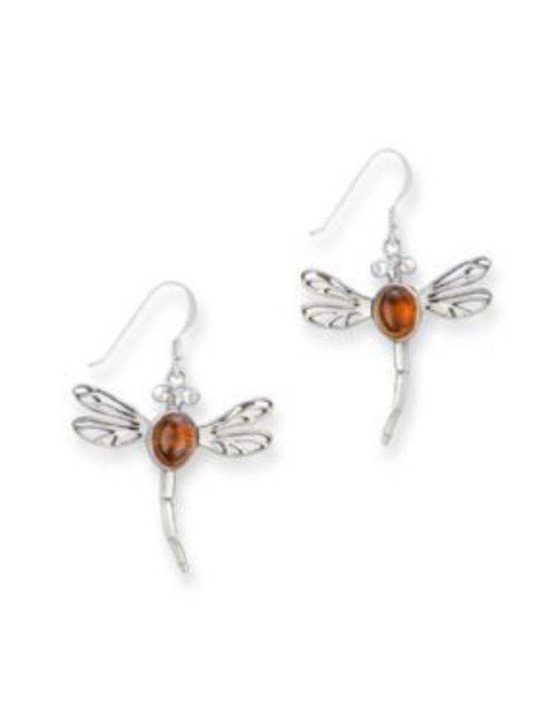 Earrings: SS Amber Dragonfly