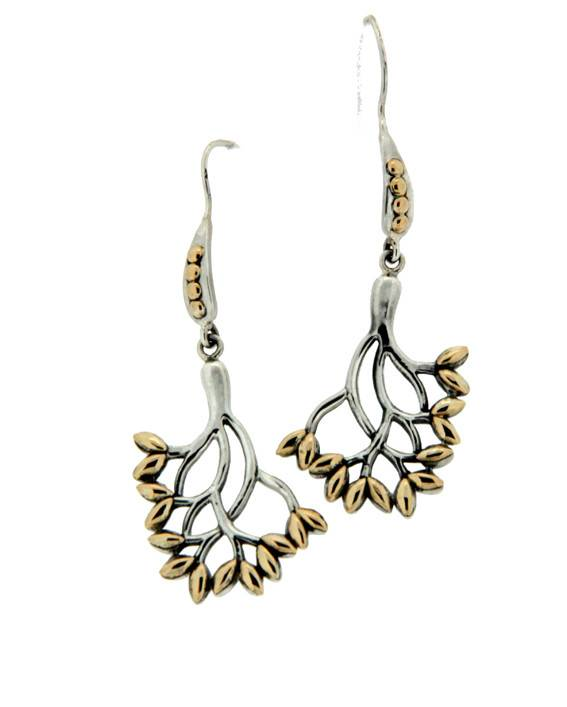 Keith Jack Earrings: Sterling & 18k Tree of Life, Lg