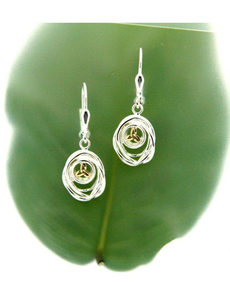 Earrings: Sterling & 10k Celtic Cradle of Life, Drop