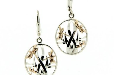 Earring: Sterling & 10k Dragonfly in Reeds
