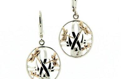 Earrings: Sterling & 10k Dragonfly in Reeds