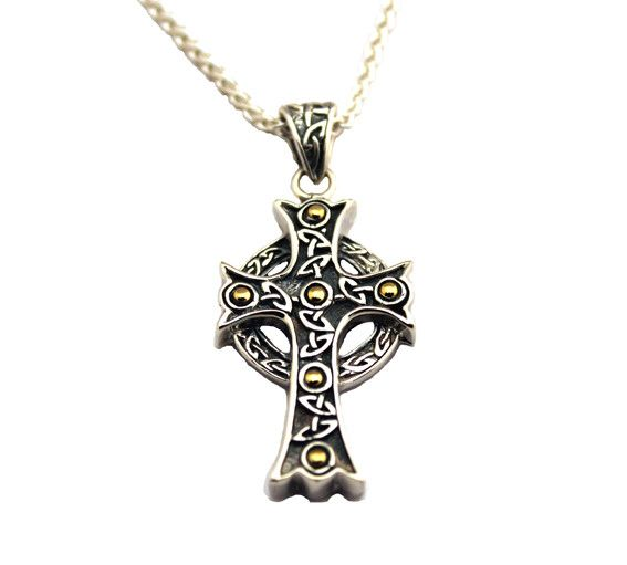 Pendant: Sterling & 18k Large Ornate Cross