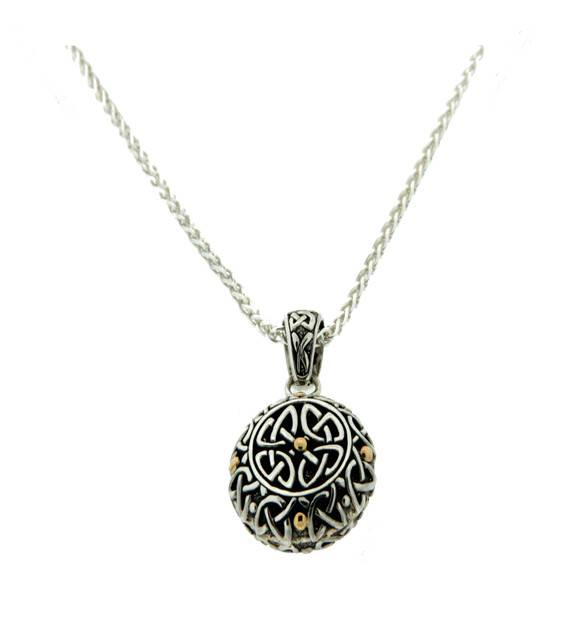 Pendant: Sterling & 18k Labyrinth, Rnd
