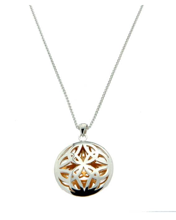 Pendant: Sterling & 24k Double Sided Trinity