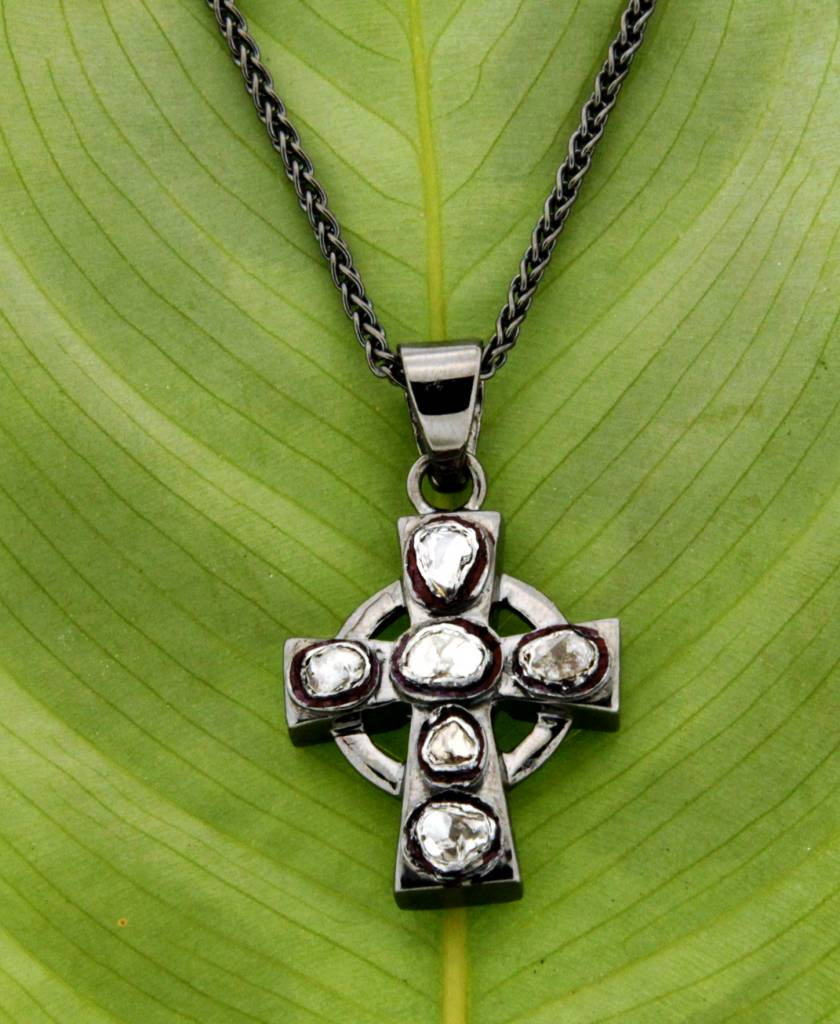 Pendant: Sterling, Blk Rhodium & Raw Diamond, Cross
