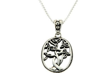Pendant: Sterling Trinity Tree of Life, Sm