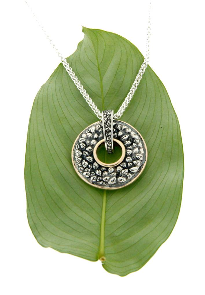 Pendant: Sterling & 10k Two-sided Spin Pendant, Leaf, Spiral