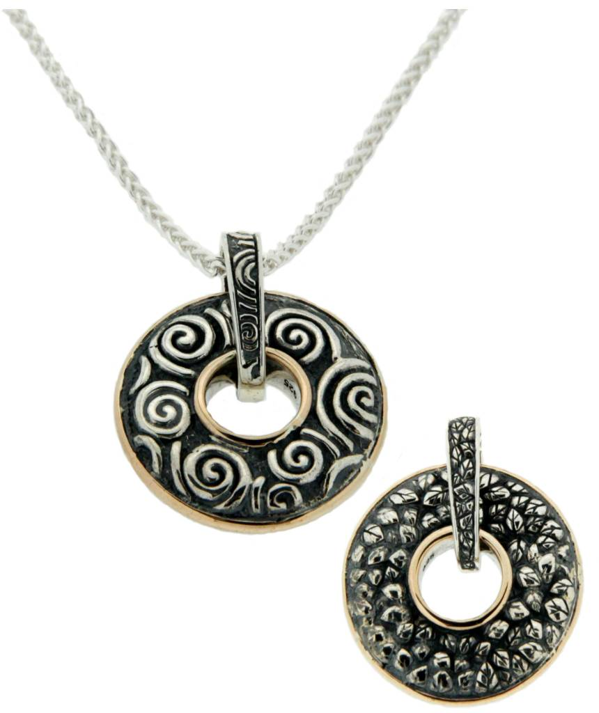 Keith Jack Pendant: Sterling & 10k Two-sided Spin Pendant, Leaf, Spiral