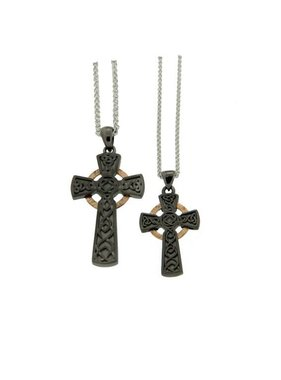 Pendant: Rhutanium & 10k Circle Cross, Lg
