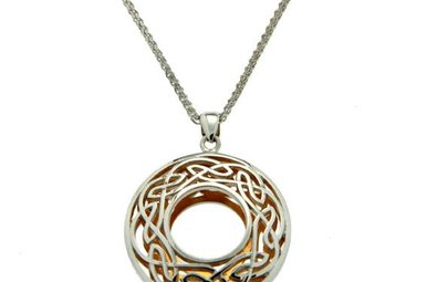 Pendant: Sterling & 24k Guilding Window to the Soul, Lg Rnd