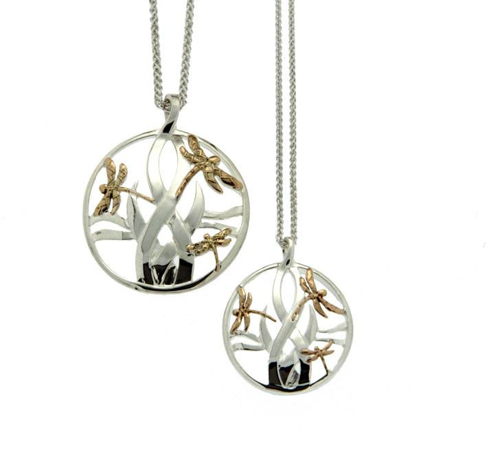 Keith Jack Pendant: Sterling & 10k Dragonfly in Reeds, Sm