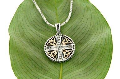 Pendant: Sterling & 10k W. Sapphire Cross