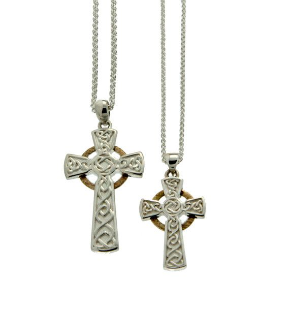 Pendant: Sterling & 10k Circle Cross, Sm