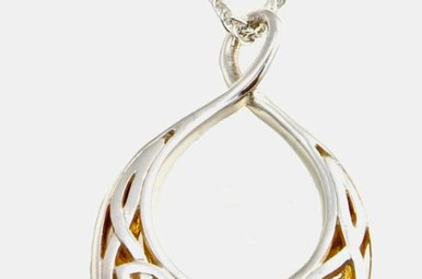 Pendant: Sterling & 24k Guilding Window to the Soul, Lg Trdrp
