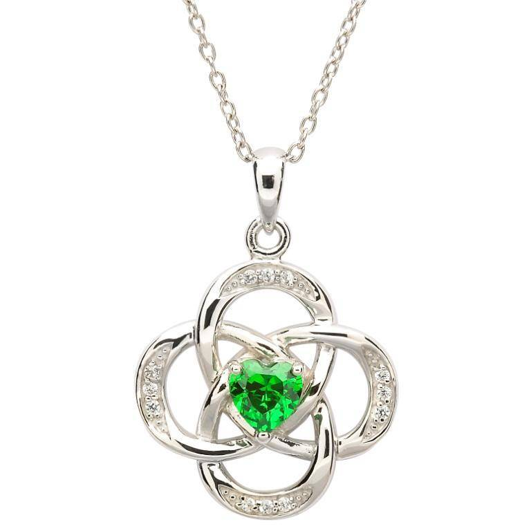 Pendant: SS May Grn CZ Birthst
