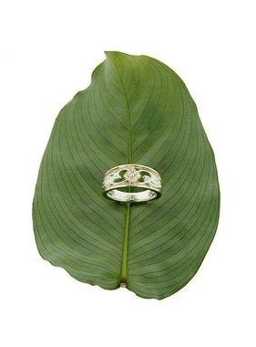Ring: Rosail - Sterling & 10k Diamond set Eternity Knot
