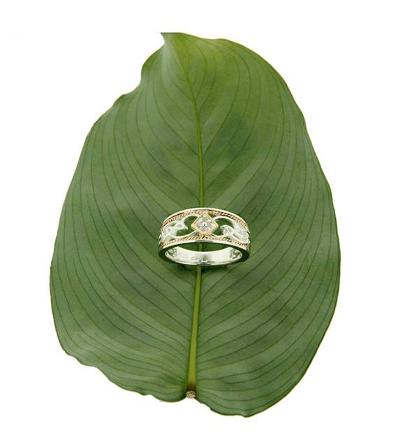 Keith Jack Ring: Rosail - Sterling & 10k Diamond set Eternity Knot