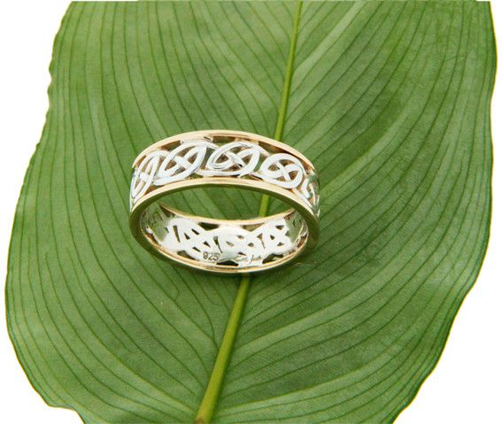 """Keith Jack Ring: Ness - Sterling & 10k Lomand Knot with Rails, """"Window to the Soul"""""""