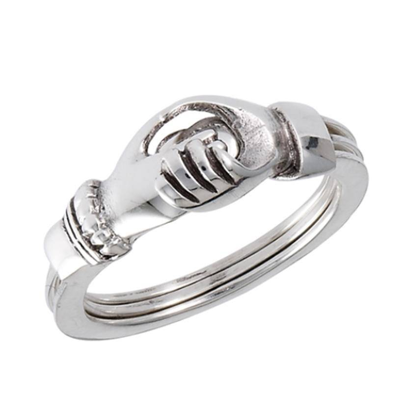 Ring: Hands 'n' Heart, Gimmel, Tri-ring, SS
