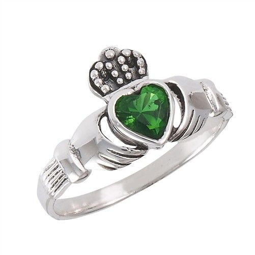 Ring: Claddagh, Green CZ Heart, SS