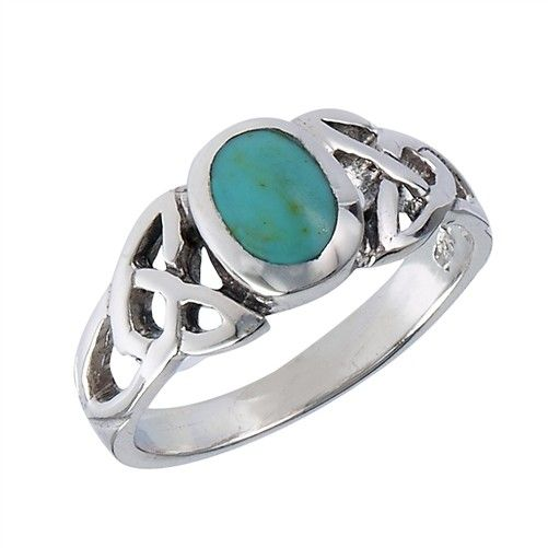 Ring: Turquoise, Round, Trinity, SS