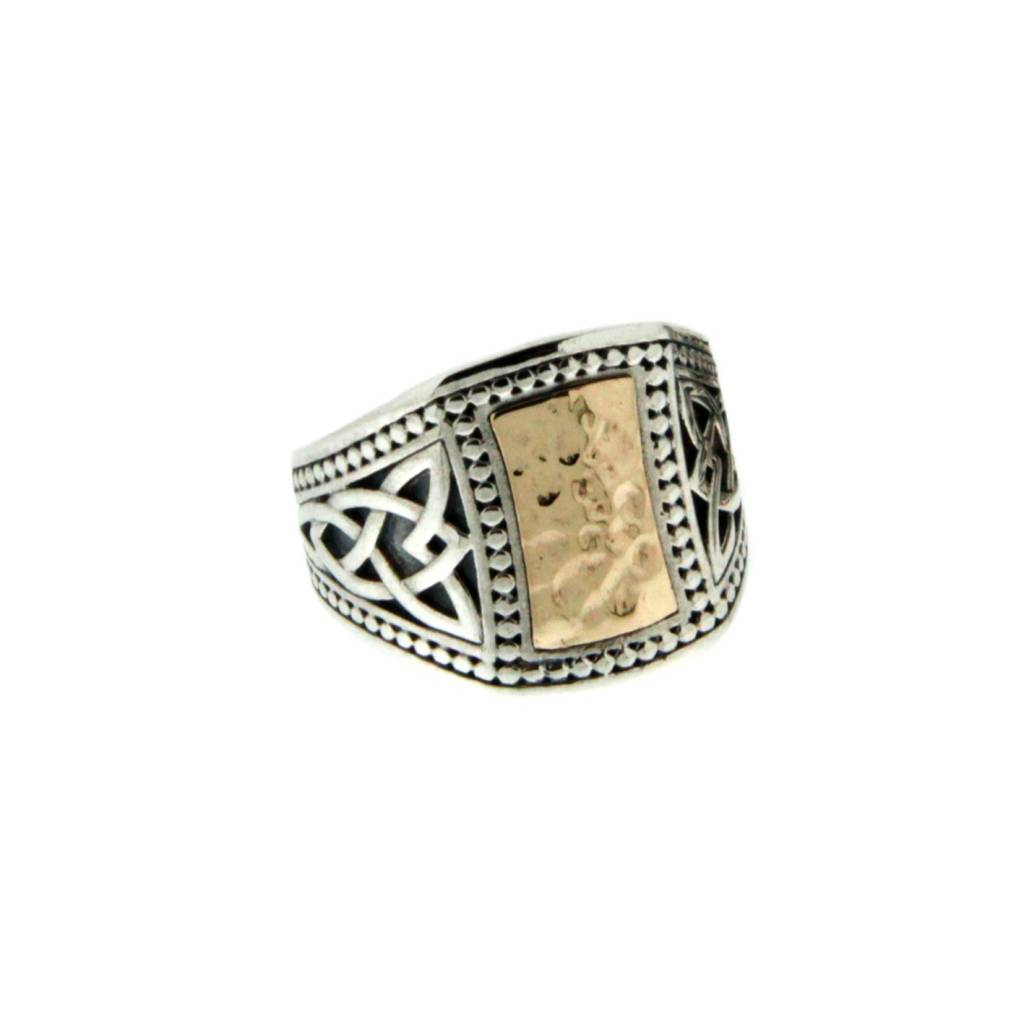 Ring: Sterling & 10k Hammered Celtic Signet, Sm