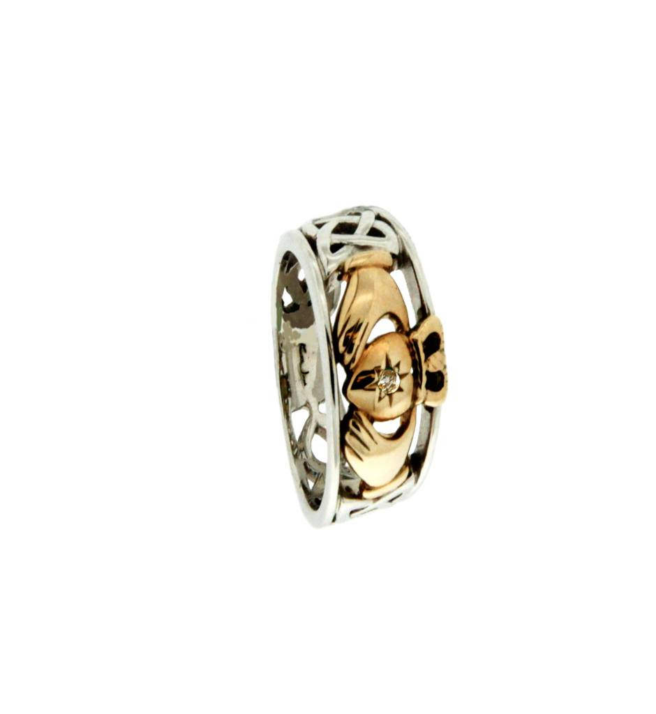Keith Jack Ring: Claddagh Diamond - Sterling & 10k Claddagh with Diamond set Heart