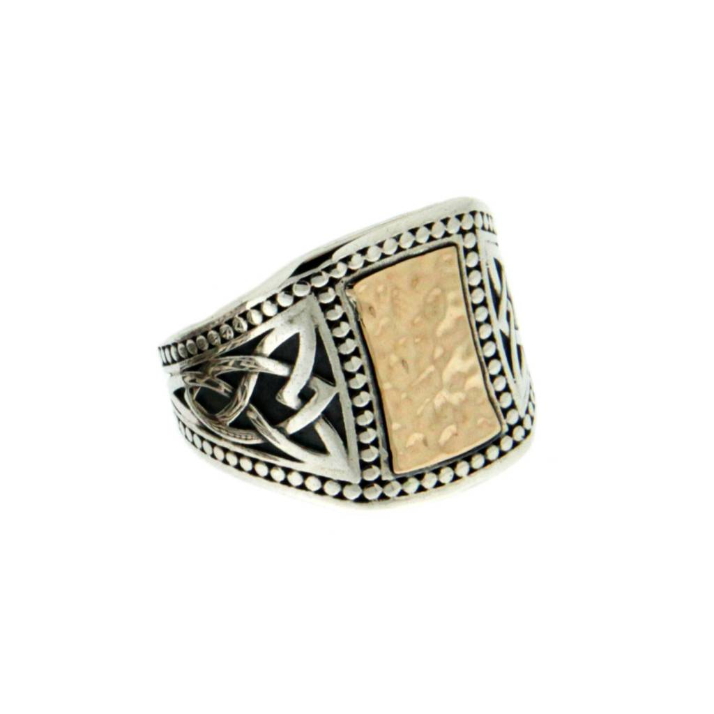 Ring: Sterling & 10k Hammered Celtic Signet, Lg