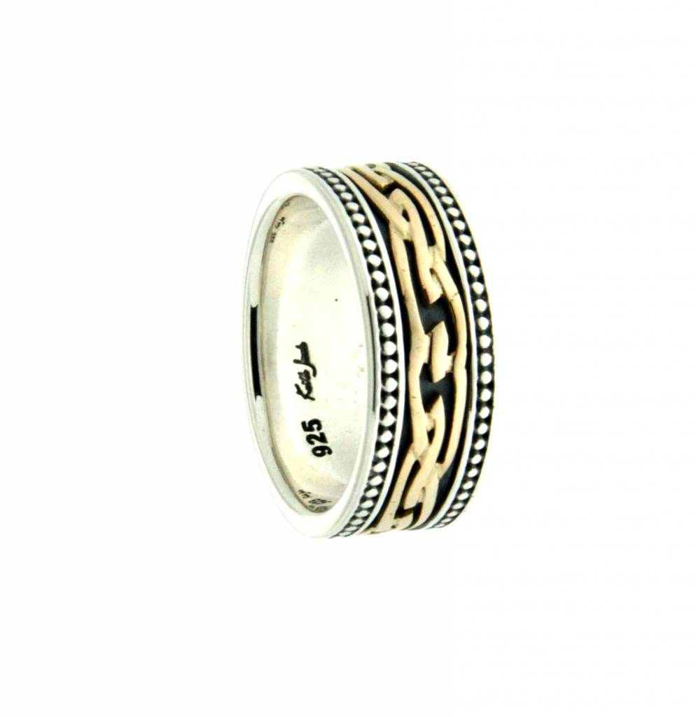 Ring: Caise - Sterling & 10k Contemporary Eternity Knot