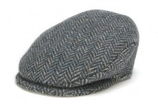 Hat: Vintage Wool Herringbone Cap, Blue
