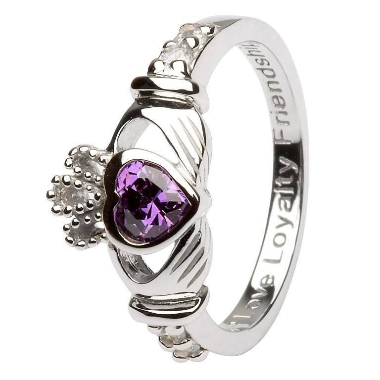 Shanore Ring: SS Claddagh Feb Amethyst Birthstone