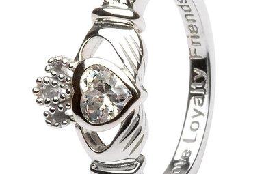 Ring: SS Claddagh April Clear CZ Birthstone