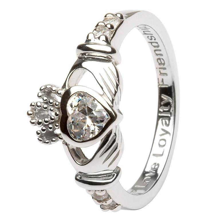 Shanore Ring: SS Claddagh April Clear CZ Birthstone