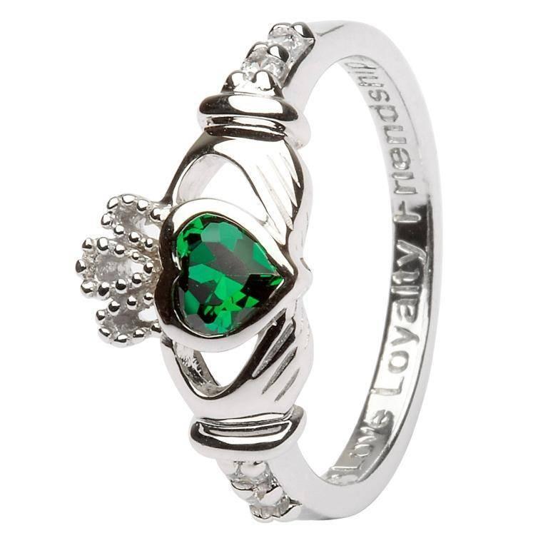 Ring: SS Claddagh May Green CZ Birthstone