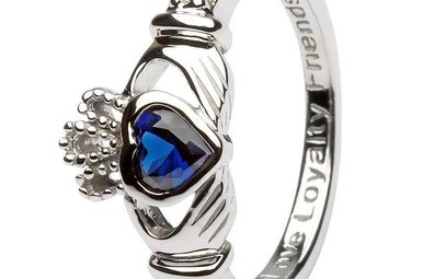 Ring: SS Claddagh Sept Sapphire Birthstone