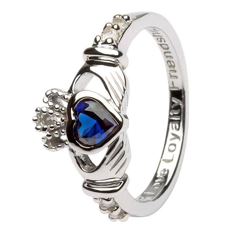 Ring: SS Claddagh Sept Sapphire Birthstone