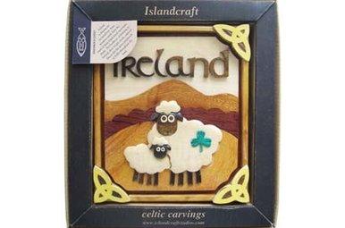 Plaque: Wood Carved Shamrock Sheep