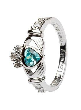 Ring: SS Claddagh Mar Aquamarine Birthstone
