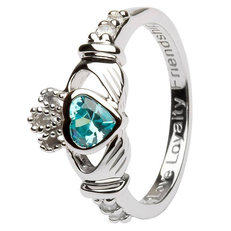 Ring: SS Claddagh Mar Aquamarine Birthstone