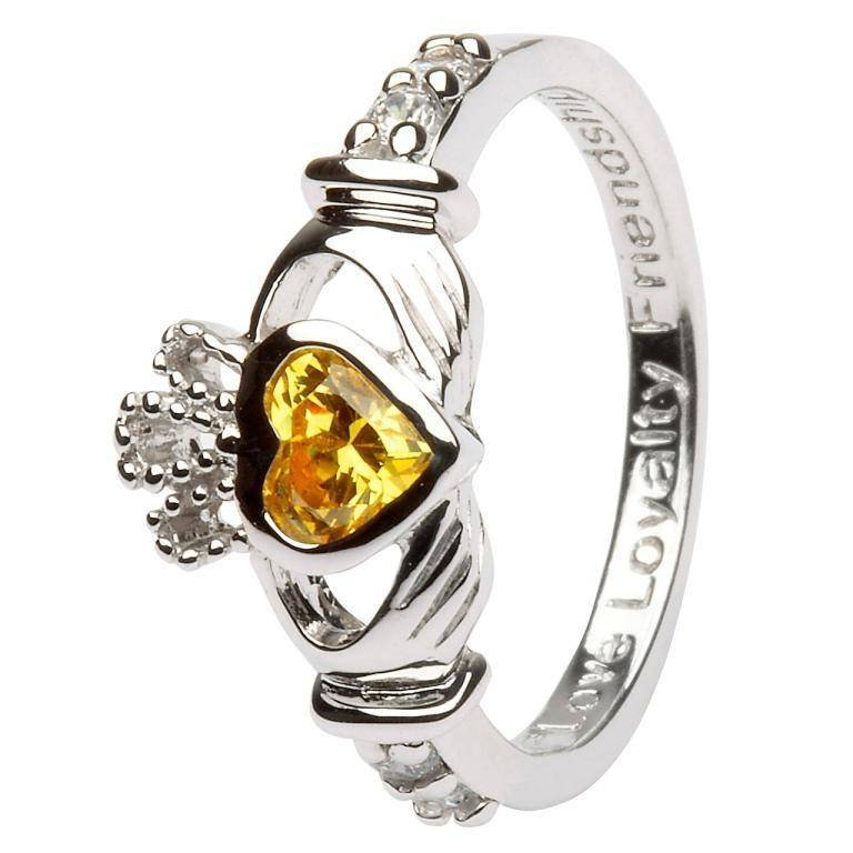 Ring: SS Claddagh Nov Citrine Birthstone
