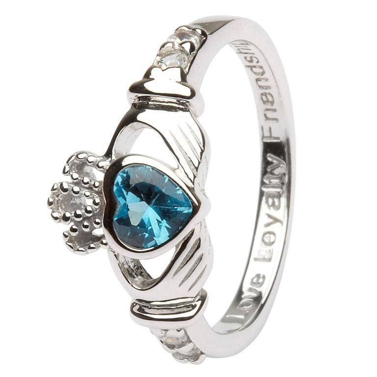 Ring: SS Claddagh Dec Blue Topaz Birthstone