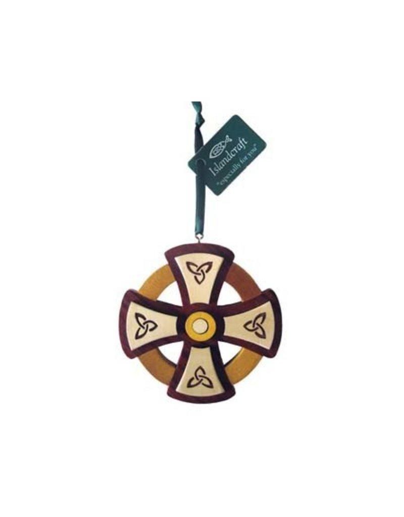 Ornament: Wood Round Cross