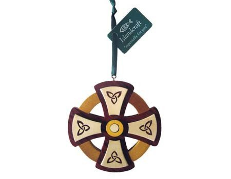 Ornament: Wood Round Cross