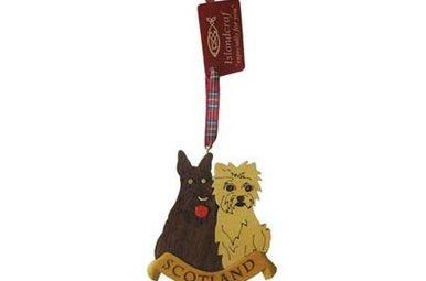 Ornament: Wood Scottie & Westie