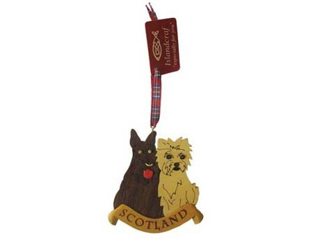 Ornament: Wood Scottie & Westie