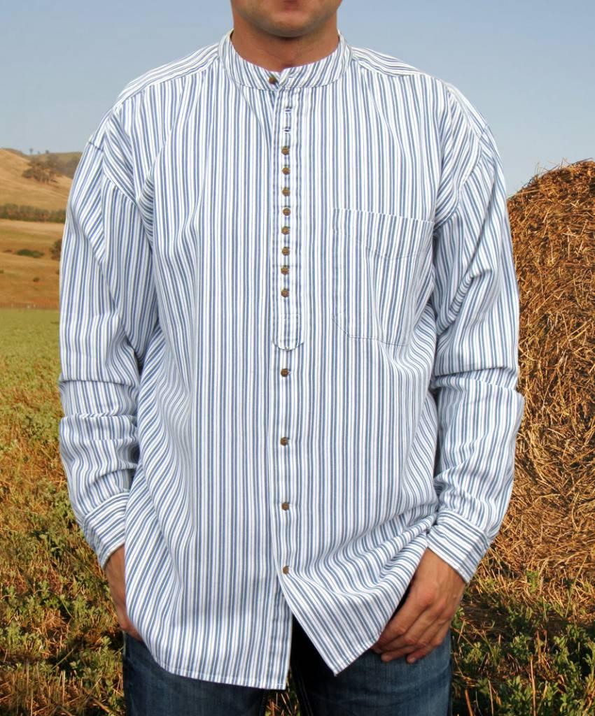 Shirt: Cotton Grandfather Blue Stripe